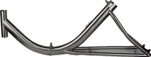 Titanium recumbent bicycle frame with brush surface