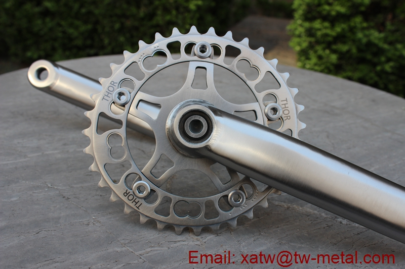 titanium bicycle crankset oval